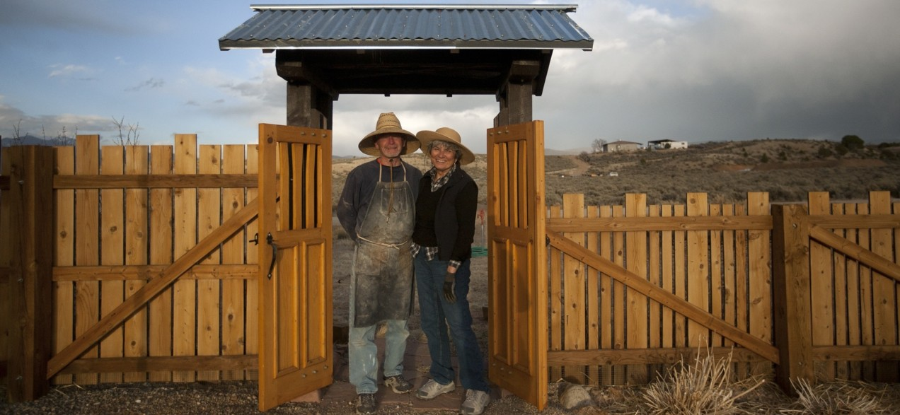 Hank and I at the gate. Photo by Tina Larkin/The Taos News